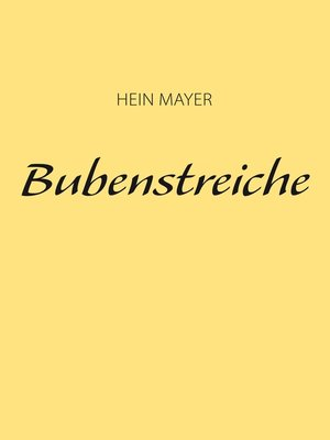 cover image of Bubenstreiche