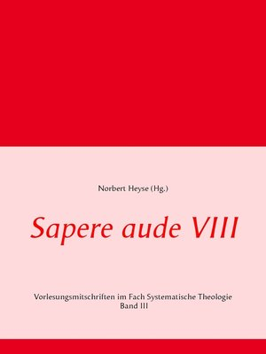 cover image of Sapere aude VIII