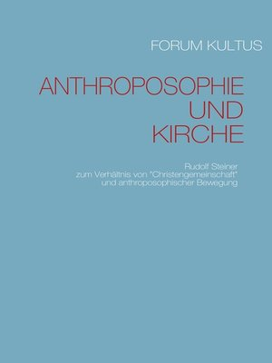 cover image of Anthroposophie und Kirche