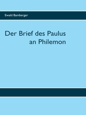 cover image of Der Brief des Paulus an Philemon