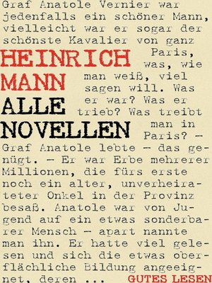 cover image of Heinrich Mann--Alle Novellen