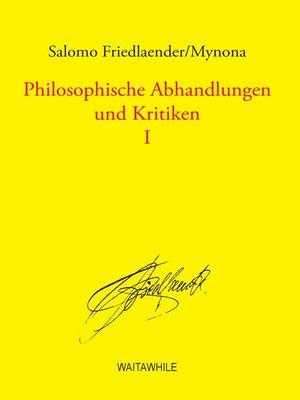 cover image of Philosophische Abhandlungen und Kritiken 1