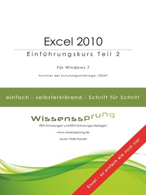 cover image of Excel 2010--Einführungskurs Teil 2