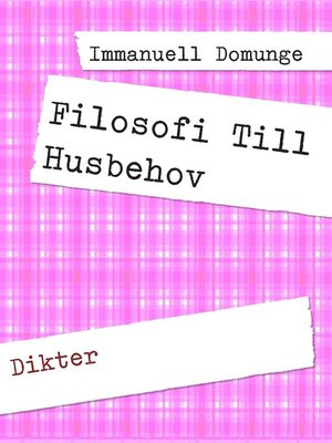 cover image of Filosofi Till Husbehov