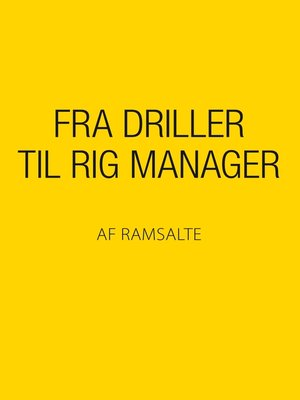 cover image of Fra driller til rig manager