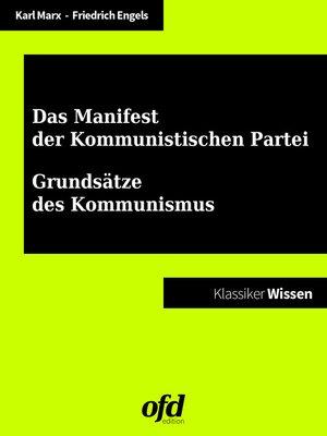 cover image of Manifest der Kommunistischen Partei--Grundsätze des Kommunismus