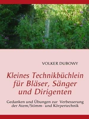cover image of Kleines Technikbüchlein für Bläser, Sänger und Dirigenten