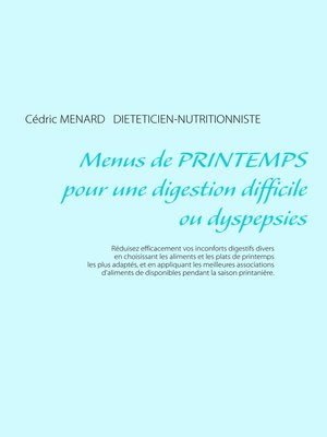 cover image of Menus de printemps pour une digestion difficile ou dyspepsies