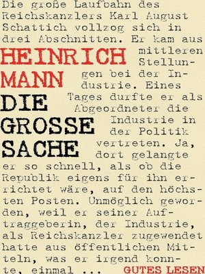 cover image of Die große Sache