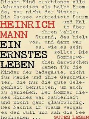 cover image of Ein ernstes Leben