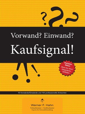 cover image of Vorwand? Einwand? Kaufsignal!
