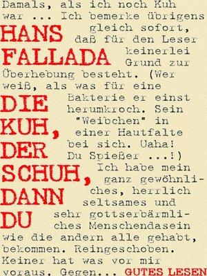 cover image of Die Kuh, der Schuh, dann du