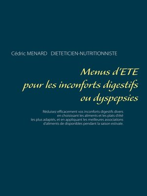 cover image of Menus d'été pour les inconforts digestifs ou dyspepsies