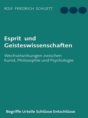 cover image of Esprit und Geisteswissenschaften