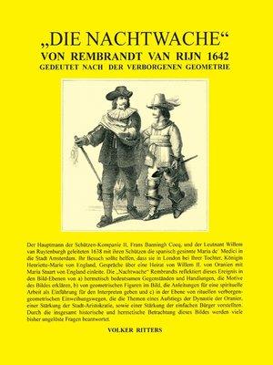 cover image of Die Nachtwache von Rembrandt van Rijn 1642--Gedeutet nach der verborgenen Geometrie
