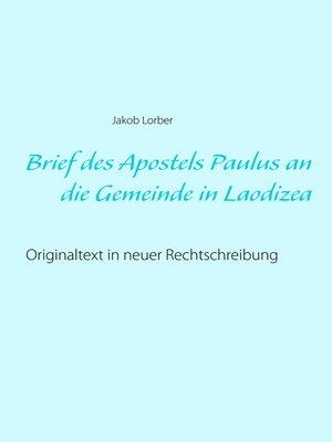 cover image of Brief des Apostels Paulus an die Gemeinde in Laodizea