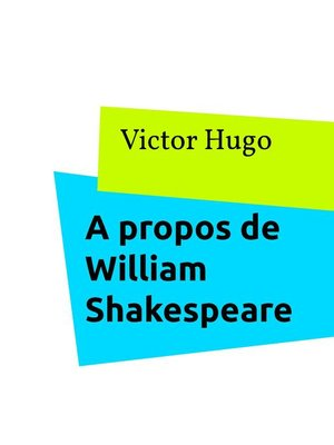 cover image of A propos de William Shakespeare