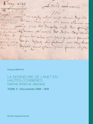 cover image of La Seigneurie de Lanet en Hautes-Corbières (Vème-XIXème siècles)