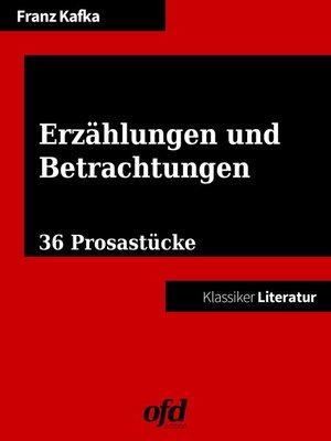 cover image of Erzählungen und Betrachtungen