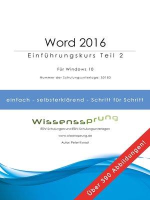 cover image of Word 2016--Einführungskurs Teil 2