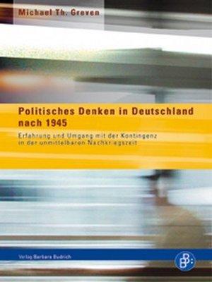 cover image of Politisches Denken in Deutschland nach 1945