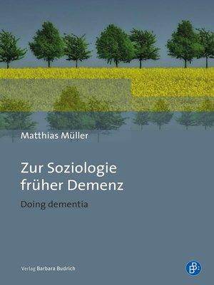 cover image of Zur Soziologie früher Demenz