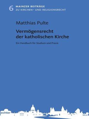 cover image of Vermögensrecht der katholischen Kirche