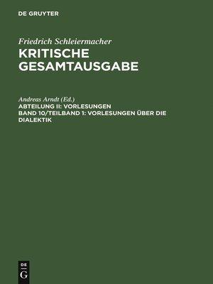 cover image of Vorlesungen über die Dialektik