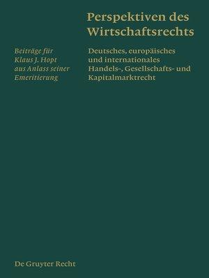 cover image of Perspektiven des Wirtschaftsrechts