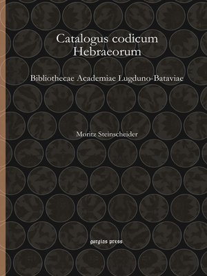 cover image of Catalogus codicum Hebraeorum