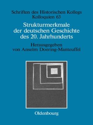 cover image of Strukturmerkmale der deutschen Geschichte des 20. Jahrhunderts