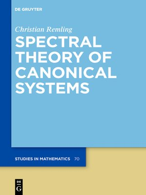 cover image of Spectral Theory of Canonical Systems
