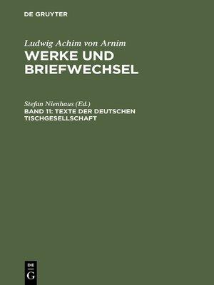 cover image of Texte der deutschen Tischgesellschaft