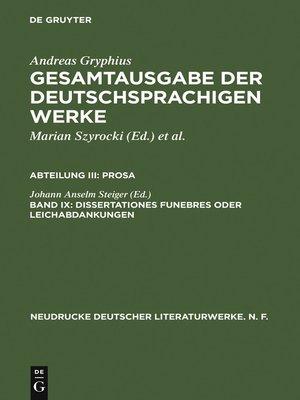 cover image of Dissertationes funebres oder Leichabdankungen