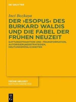 cover image of Der ›Esopus  des Burkard Waldis und die Fabel der Frühen Neuzeit