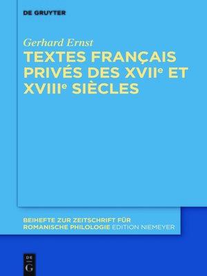 cover image of Textes français privés des XVIIe et XVIIIe siècles