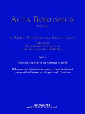 cover image of Wissenschaftspolitik in der Weimarer Republik