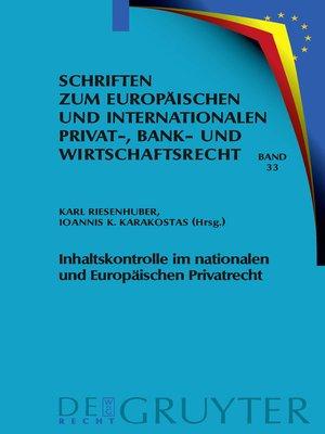 cover image of Inhaltskontrolle im nationalen und Europäischen Privatrecht