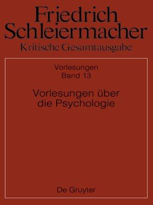 cover image of Vorlesungen über die Psychologie