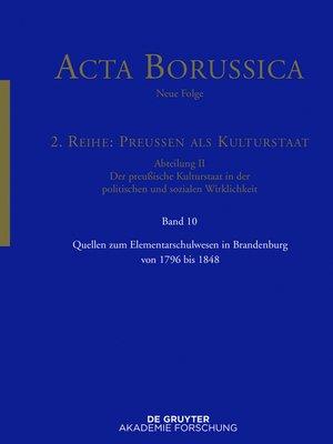 cover image of Quellen zum Elementarschulwesen in Brandenburg von 1796 bis 1848