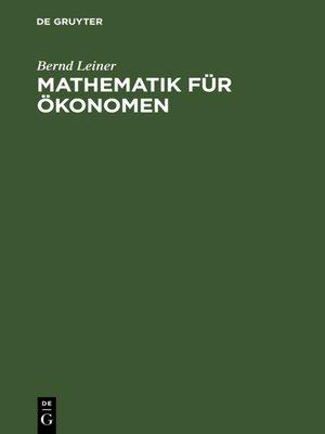 cover image of Mathematik für Ökonomen