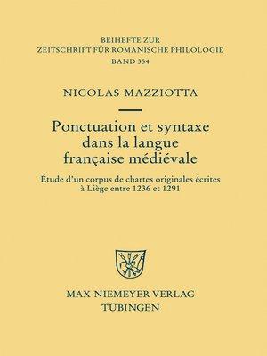 cover image of Ponctuation et syntaxe dans la langue française médiévale