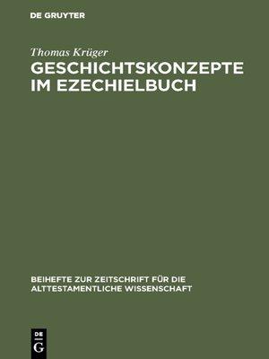 cover image of Geschichtskonzepte im Ezechielbuch