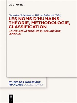 cover image of Les noms d'humains – théorie, méthodologie, classification