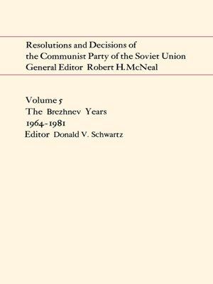 cover image of Resolutions and Decisions of the Communist Party of the Soviet Union Volume 5