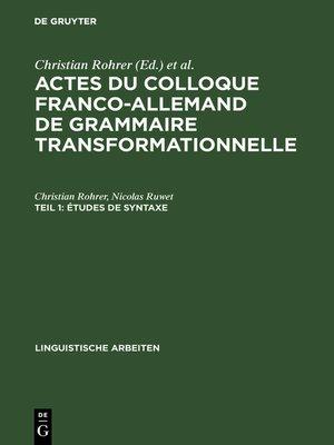 cover image of Études de syntaxe
