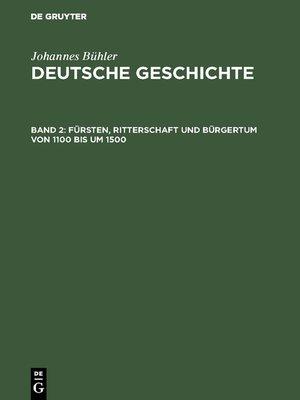 cover image of Fürsten, Ritterschaft und Bürgertum von 1100 bis um 1500