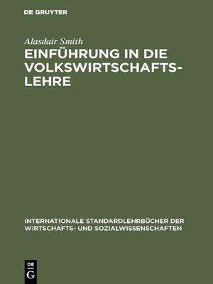 cover image of Einführung in die Volkswirtschaftslehre