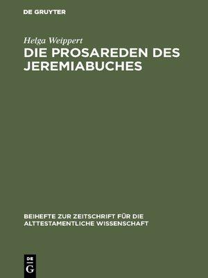 cover image of Die Prosareden des Jeremiabuches