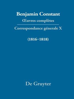 cover image of Correspondance générale 1816–1818
